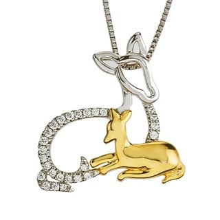 Diamond Deer Mom & Child Necklace By Ever One