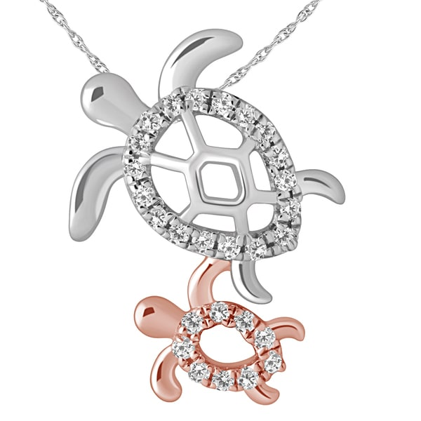 Diamond Turtle Mom Child Necklace By Ever One