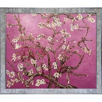 Vincent Van Gogh 'Branches of an Almond Tree in Blossom, Magenta' Hand Painted Framed Canvas Art