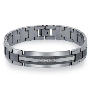 Men's Tungsten Carbide 1/5ctf TDW Diamond ID Bracelet By Ever One (H-I, I2)