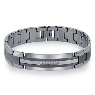 Men's Tungsten and Stainless Steel 1/5ct TDW Diamond ID Bracelet  By Ever One (H-I, I2)