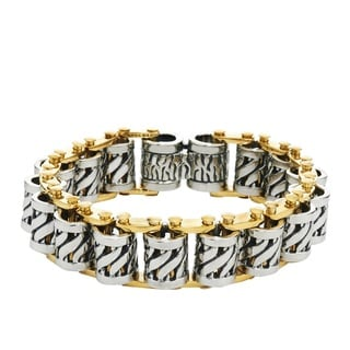 Men's Stainless Steel 8.5-inch High-polish Two-toned Barrel Bracelet By Ever One