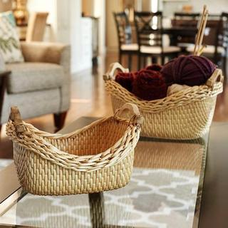 Cobble Stone Tan Wicker Baskets (Set of 2)