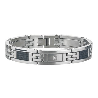 Men's 0.1ct H-I I3 Diamond Stainless-steel Bracelet By Ever One