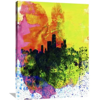 Naxart Studio 'Chicago Watercolor Skyline' Stretched Canvas Wall Art