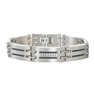 Men's 0.12-carat Diamond Stainless Steel Bracelet By Ever One