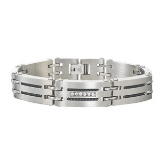 Men's 0.12-carat Diamond Stainless Steel Bracelet By Ever One