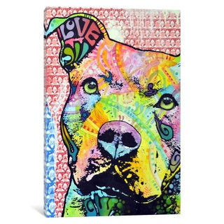 iCanvas Thoughtful Pit Bull This Years by Dean Russo Canvas Print