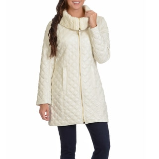 Via Spiga Women's Diamond Quilt Walker with Knit Collar