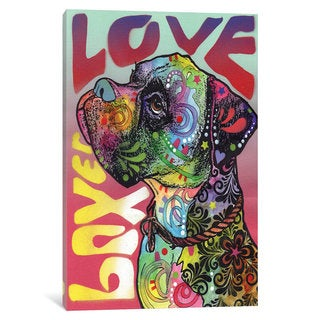 iCanvas Boxer Love by Dean Russo Canvas Print