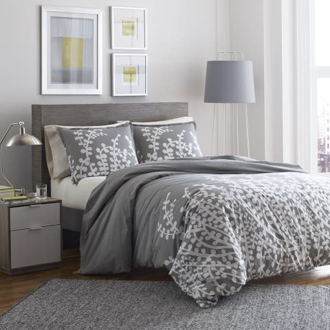 City Scene Cotton Branches Grey King Size Comforter Set (As Is Item)