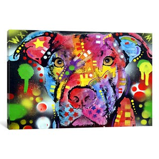 iCanvas The Brooklyn Pit Bull by Dean Russo Canvas Print