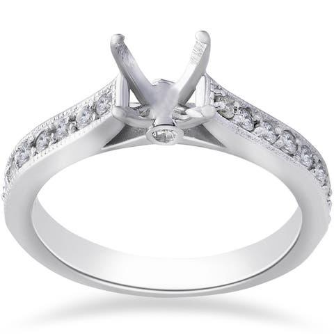 14k White Gold 1/3ct TDW Diamond Engagement Semi Mount Ring Setting