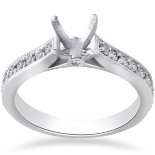 14k White Gold 1/3ct TDW Diamond Engagement Semi Mount Ring Setting (I-J, I1-I2)