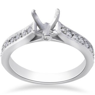 14k White Gold 1/3ct TDW Diamond Engagement Semi Mount Ring Setting