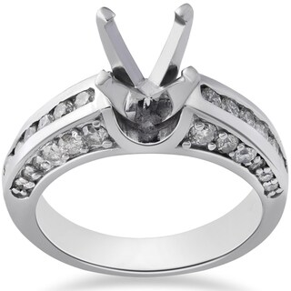 14k White Gold 1 ct TDW Diamond Semi Mount Engagement Ring Setting