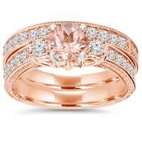 14K Rose Gold 2 CT TW Vintage Diamond & Morganite Engagement Wedding Ring Set (I-J,I2-I3)