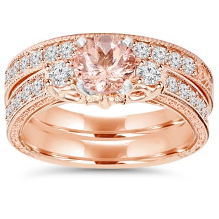 14K Rose Gold 2 CT TW Vintage Diamond & Morganite Engagement Wedding Ring Set (I-J,I2-I3) (More options available)