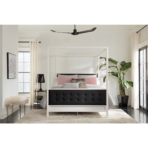 Silver Orchid Clark Modern White Metal With Black Linen Queen Canopy Bed by Silver Orchid