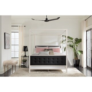 Silver Orchid Clark Modern White Metal with Black Linen Queen Canopy Bed