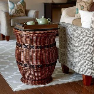 Large Willow Poplar Wicker Urn Table