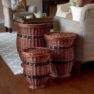 Willow Poplar Wicker Urn Tables (Pack of 3)