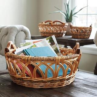Household Essentials Robin Tan Wicker Decorative Baskets (Set of 3)