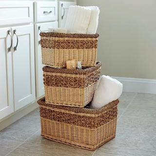 Starling Decorative Wicker Storage Basket (Set of 3)