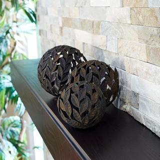 Household Essentials Brown Metal 3-piece Leaf Decorative Balls