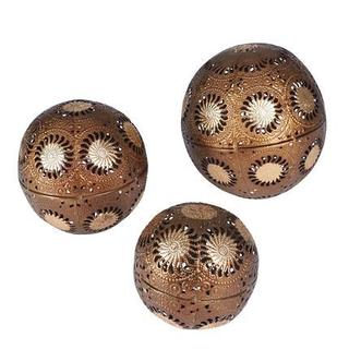 Sunburst Gold Metal Decorative Balls (Set of 3)