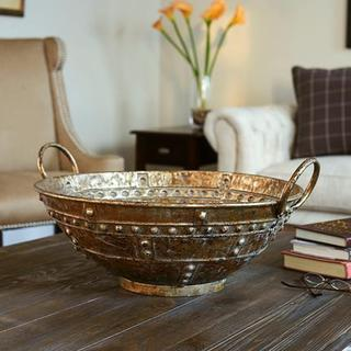 Brown Bronze Metal Extra-large Decorative Bowl