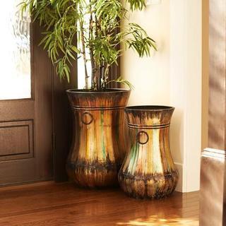 Bronzed Hand-painted Floor Vases (Set of 2)