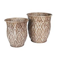 Etched Floor Vases (2-Piece Set)