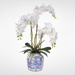 Real Touch White Phalaenopsis Silk Orchids in a Porcelain Vase