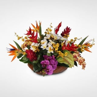 Artificial Tropical Arrangement in a Decorative Teak Bowl