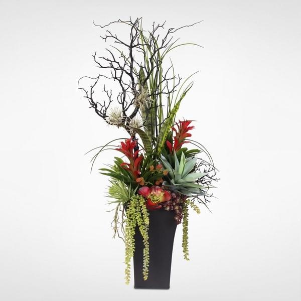 Shop contemporary silk flower arrangement in tall metal container contemporary silk flower arrangement in tall metal container mightylinksfo