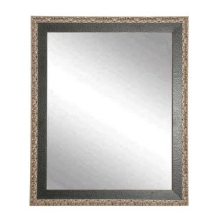 Multi Size BrandtWorks Noble Black and Pewter Finish Wood Frame Wall Mirror - Black/Silver