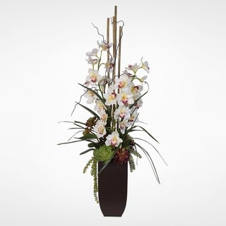 Real Touch Phalaenopsis Silk Orchids with Succulents in a Tall Metal Container