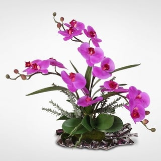 Real Touch Phalaenopsis Silk Orchids with Succulents on a Silver Leaf Plate