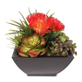 Tropical Artificial Succulent Arrangement in a Metal Container