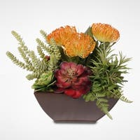 Tropical Artificial Succulent Arrangement in a Metal Container