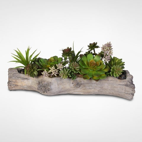 Artificial Succulents with Natural Rocks in a Stone Log
