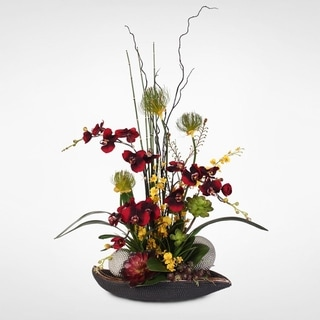 Strength and Beauty Arrangement Orchids with Succulents and Grass in a Beadwork Pot