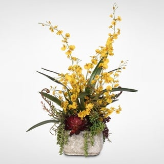 Yellow Silk Oncidium Orchid Spray in Concrete Pot