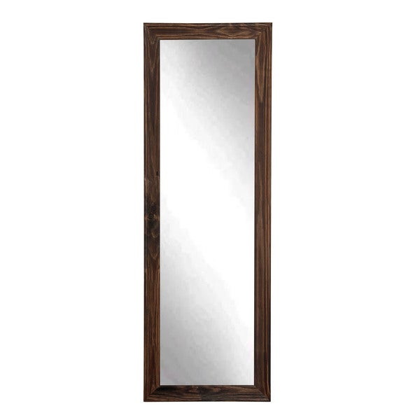 Espresso wood floor mirror