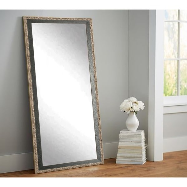 BrandtWorks Noble Black/Silver Wood-framed Floor Mirror