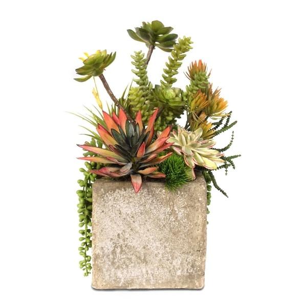 Faux Succulent Arrangement in Cement Cube