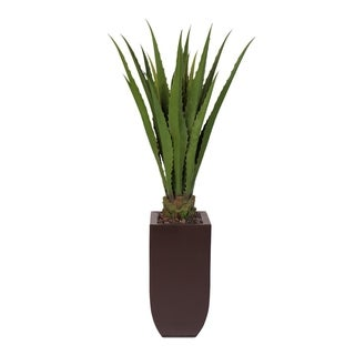 Artificial Agave Plant in Tall Metal Container