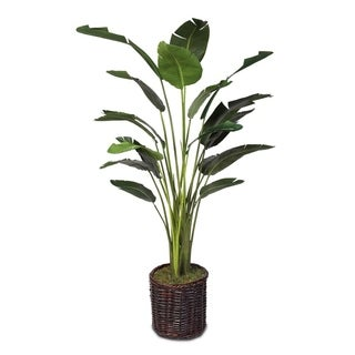 Faux Bird of Paradise Plant in Rattan Basket