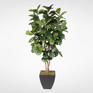 Artificial Silk Fiddle Leaf Tree with Natural Trunk in a Brown Metal Planter